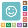 Winking emoticon flat icons - Winking emoticon white flat icons on color rounded square backgrounds