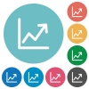 Line graph flat icons - Line graph white flat icons on color rounded square backgrounds