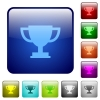 Trophy cup color square buttons - Trophy cup color glass rounded square button set