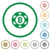 Bitcoin casino chip flat icons with outlines - Bitcoin casino chip flat color icons in round outlines