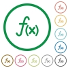 Function flat icons with outlines - Function flat color icons in round outlines