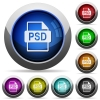 PSD file format icons in round glossy buttons with steel frames - PSD file format glossy buttons