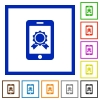 Mobile certification flat framed icons - Mobile certification flat color icons in square frames