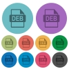 DEB file format color flat icons - DEB file format flat icons on color round background.