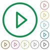 Media play flat icons with outlines - Media play flat color icons in round outlines