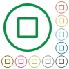 Media stop flat color icons in round outlines - Media stop flat icons with outlines