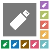Pendrive square flat icons - Pendrive flat icons on simple color square background.
