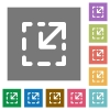 Resize element square flat icons - Resize element flat icons on simple color square background.