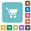 Empty cart white flat icons on color rounded square backgrounds - Empty cart flat icons