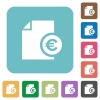 Euro report flat icons - Euro report white flat icons on color rounded square backgrounds