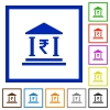 Indian Rupee bank flat framed icons - Indian Rupee bank flat color icons in square frames