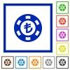 Turkish Lira casino chip flat framed icons - Turkish Lira casino chip flat color icons in square frames