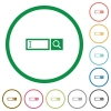 Search box flat icons with outlines - Search box flat color icons in round outlines