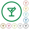 Cocktail flat color icons in round outlines - Cocktail flat icons with outlines