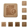 Indian Rupee report wooden buttons - Indian Rupee report icons in carved wooden button styles