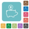 Yen piggy bank flat icons - Yen piggy bank white flat icons on color rounded square backgrounds