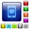 Mobile messaging color square buttons - Mobile messaging color glass rounded square button set
