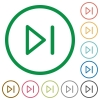 Media next flat icons with outlines - Media next flat color icons in round outlines