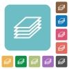 Printing papers flat icons - Printing papers white flat icons on color rounded square backgrounds