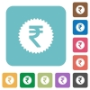 Indian Rupee sticker flat icons - Indian Rupee sticker white flat icons on color rounded square backgrounds