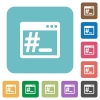 OS root terminal flat icons - OS root terminal white flat icons on color rounded square backgrounds