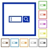 Search box flat framed icons - Search box flat color icons in square frames