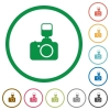 Camera with flash flat icons with outlines - Camera with flash flat color icons in round outlines