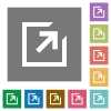 Export flat icons on simple color square background. - Export square flat icons