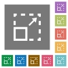 Maximize element flat icons on simple color square background. - Maximize element square flat icons