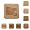 Lock folder wooden buttons - Lock folder icons in carved wooden button styles
