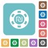 New Shekel casino chip flat icons - New Shekel casino chip white flat icons on color rounded square backgrounds