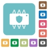Hardware protection flat icons - Hardware protection white flat icons on color rounded square backgrounds