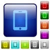 Smartphone color square buttons - Smartphone color glass rounded square button set