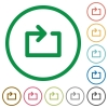 Media loop flat icons with outlines - Media loop flat color icons in round outlines
