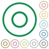 Media record flat icons with outlines - Media record flat color icons in round outlines