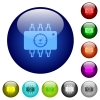 Hardware diagnostics color glass buttons - Hardware diagnostics icons on round color glass buttons
