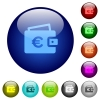 Euro wallet color glass buttons - Euro wallet icons on round color glass buttons