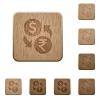 Dollar Rupee exchange wooden buttons - Dollar Rupee exchange icons in carved wooden button styles