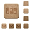 Switchboard wooden buttons - Switchboard icons in carved wooden button styles