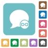 Blog comment attachment flat icons - Blog comment attachment white flat icons on color rounded square backgrounds