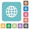 Globe flat icons - Globe white flat icons on color rounded square backgrounds