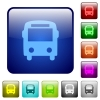 Bus color square buttons - Bus color glass rounded square button set