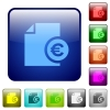 Euro report color square buttons - Euro report color glass rounded square button set