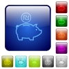 Israeli new Shekel piggy bank color square buttons - Israeli new Shekel piggy bank color glass rounded square button set