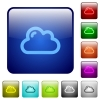 Cloud color square buttons - Cloud color glass rounded square button set
