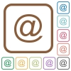 Email symbol simple icons - Email symbol simple icons in color rounded square frames on white background