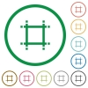 Adjust canvas size flat icons with outlines - Adjust canvas size flat color icons in round outlines