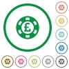 Pound casino chip flat icons with outlines - Pound casino chip flat color icons in round outlines