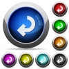 Return arrow glossy buttons - Return arrow icons in round glossy buttons with steel frames