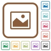 Picture simple icons - Picture simple icons in color rounded square frames on white background